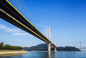 Suspension bridge in Hong Kong at day time — Stock Photo