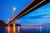 Ting Kau suspension bridge in Hong Kong at night — Stock Photo