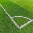 Soccer field grass with white line — Stockfoto