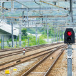 Railway and signal light — Stock Photo
