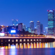Urban cityscape in Seoul at night — Stock Photo