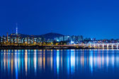 Seoul city skyline at night — Photo