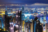Hong Kong skyline from Peak at mid night — Stock Photo