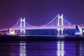 Suspension bridge in Busan at night — Stock Photo