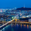 Seoul skyline from peak — Stock fotografie