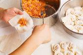 Handmade Chinese dumplings — Stock Photo