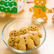 Gingerbread cookies and xmas decoration — Stock Photo