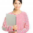 Asian woman holding laptop — Stock Photo