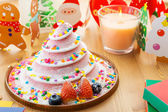 Christmas cake and decoration — Stock Photo