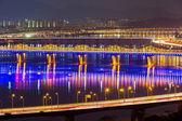 Han Gang in Seoul city at night — Foto Stock