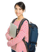 Young student with computer and backpack isolated on white — Stockfoto