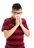 Asian man having a sick flu — Stock Photo