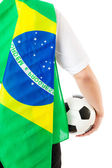 Back of businessman with football and brazil flag — Foto de Stock