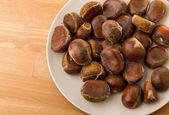 Chestnut on plate — Stock Photo