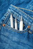 Pen in jean pocket — Stock Photo