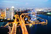 Panoráma singapuru v noci — Stock fotografie