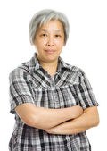 Senior asian woman isolated on white — Stock Photo