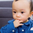 图库照片: Baby boy sucking his finger