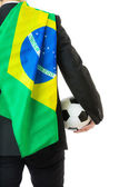 Asian business man holding soccer ball with Brazil flag — Stock Photo