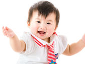 Asia baby girl hands up and isolated on white — Stock Photo