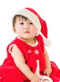 Asian baby girl with christmas dressing — Stock Photo