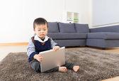Little boy using tablet — Stock Photo