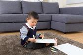 Asian baby kid drawing — Stock Photo