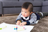 Asian baby boy drawing — Stock Photo