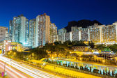 Kowloon residential district in Hong Kong at night — Stock fotografie