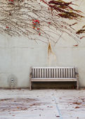 Relaxation with bench in garden — 图库照片