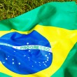 Brazil flag on green glass — Stock Photo