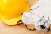 Standard safety equipment fot construction industry — Stock Photo