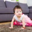 Stock Photo: Little girl crawling at home