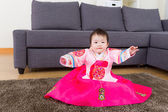 Little girl wear korean hanbok — Stock Photo