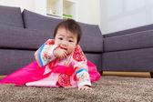 Korean little girl crawl at home — Stock Photo