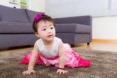 Little girl creeping on carpet — Stock Photo