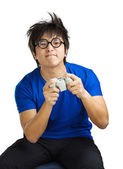Man playing video game — Stock Photo