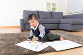 Little boy drawing at home — Stock Photo