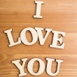 Wooden letters forming phrase I Love You — Stock Photo #39245645