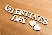 Vintage wooden letters forming phrase Valentines day — Stock Photo