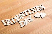 Wooden letters forming phrase Valentines day — Stock Photo