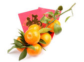 Mandarin with red pocket money isolated on white — Stock Photo