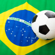 Brazil Flag and soccer ball — Stock Photo