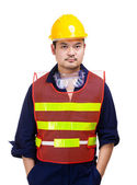 Construction worker waering safety helmet — Stock Photo