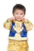 Baby boy smile with traditional chinese costume — Foto de Stock