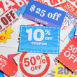 Shopping coupons — Stock Photo
