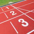 Athletics stadium running track — Stock Photo
