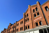 Red brick warehouse in yokohama — Stock Photo