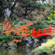 Red bridge in Japanese garden — Stock Photo