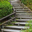 Wooden staircase to mountian — Stock Photo